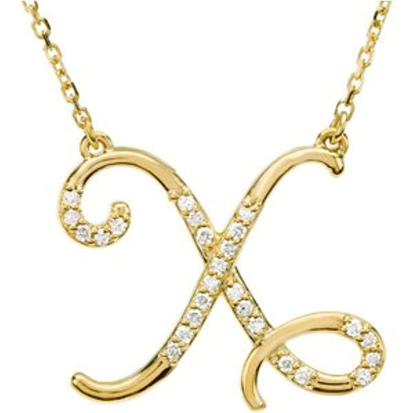 "14k Yellow Gold Alphabet Initial Letter X Diamond Pendant Necklace, 17"" (GH Color, I1 Clarity, 1/8 Cttw)"