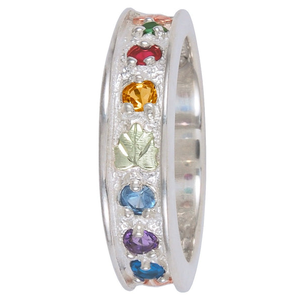 Blue Topaz, Amethyst, Aquamarine, Citrine, Garnet, Emerald Ring, Sterling Silver, 12k Green and Rose Gold Black Hills Gold Motif