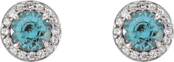 Aquamarine and Diamond Halo-Style Earrings, 14k White Gold (3.5MM) (.16 Ctw,G-H Color, I1 Clarity)