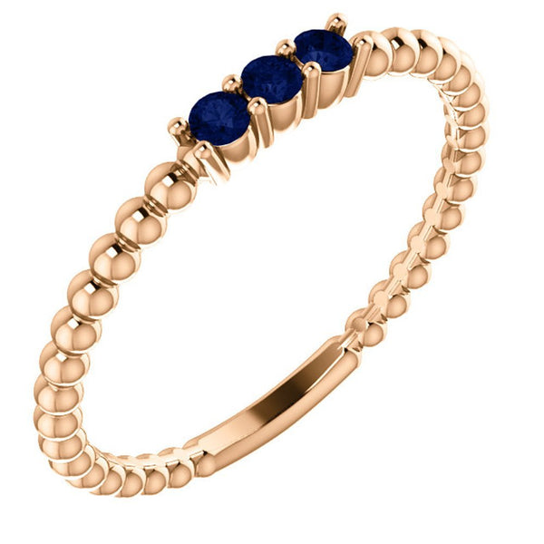 Chatham Created Blue Sapphire Beaded Ring, 14k Rose Gold, Size 6.75