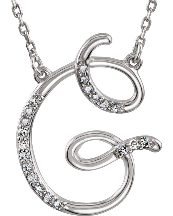 "Diamond Initial Letter 'G' Rhodium-Plated 14k White Gold Pendant Necklace, 17"" (GH, I1, 1/10 Ctw)"