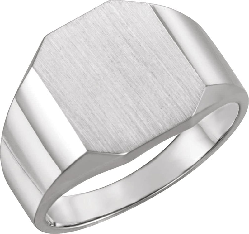 Men's Satin Brushed Signet Ring, 18k White Gold (14X12MM)