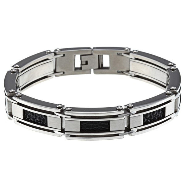 Men's Stainless Steel and Leather Inlays Bracelet, 8.5""
