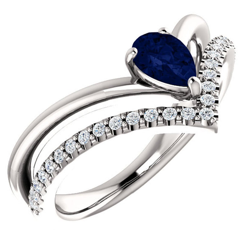 Chatham Created Blue Sapphire Pear and Diamond Chevron Platinum Ring ( .145 Ctw, G-H Color, SI2-SI3 Clarity)