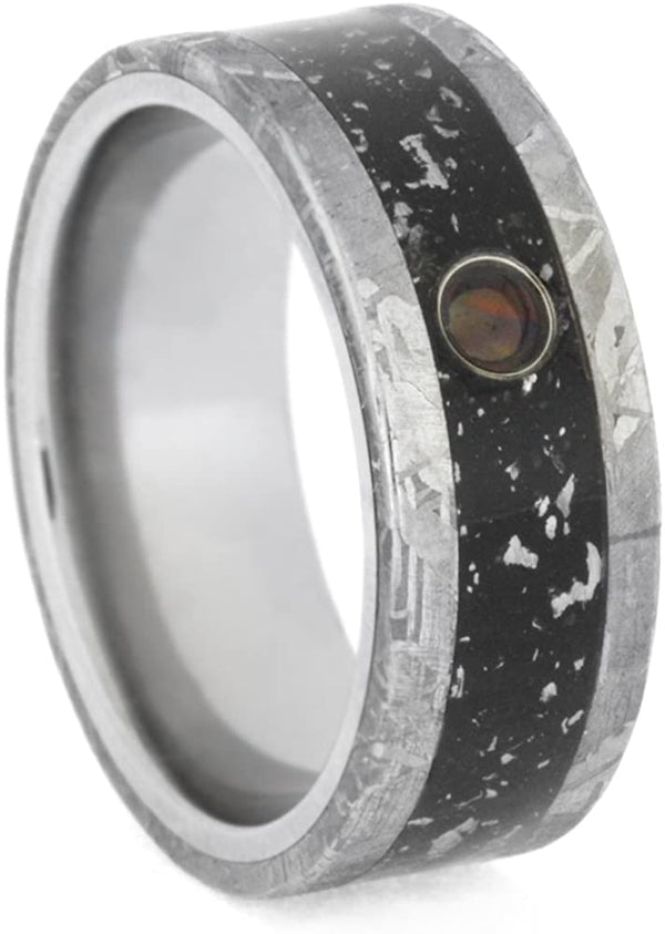 Cabochon Opal, Black Stardust Inlay, Gibeon Meteorite 8.5mm Comfort-Fit Titanium Wedding Band, Size 15.5
