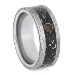 Cabochon Opal, Black Stardust Inlay, Gibeon Meteorite 8.5mm Comfort-Fit Titanium Wedding Band