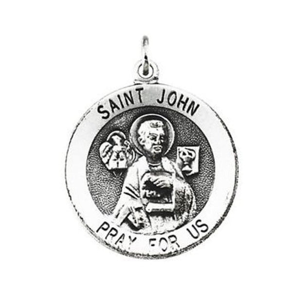 "Sterling Silver Round St. John the Evangelist Medal Necklace, 18"" (25 MM)"