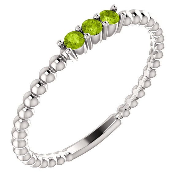 Platinum Peridot Beaded Ring, Size 6