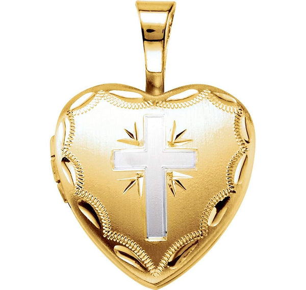 Satin-Brush Heart with Cross 14k Yellow Gold Plated Sterling Silver Locket (12.50X12.00 MM)