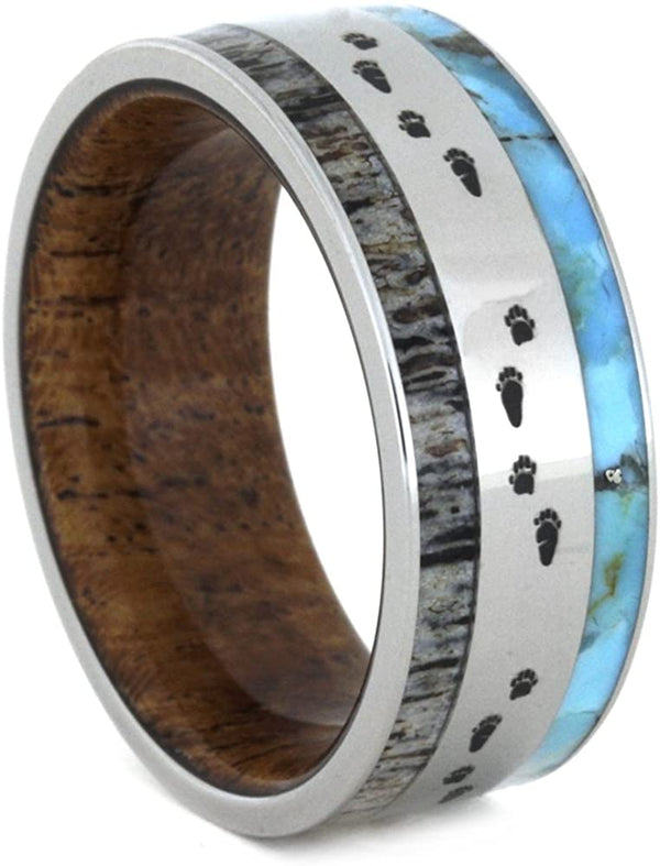 Antler, Turquoise, Mesquite Wood, Bear Tracks Engraving 9mm Comfort-Fit Titanium Band, Size 14.25