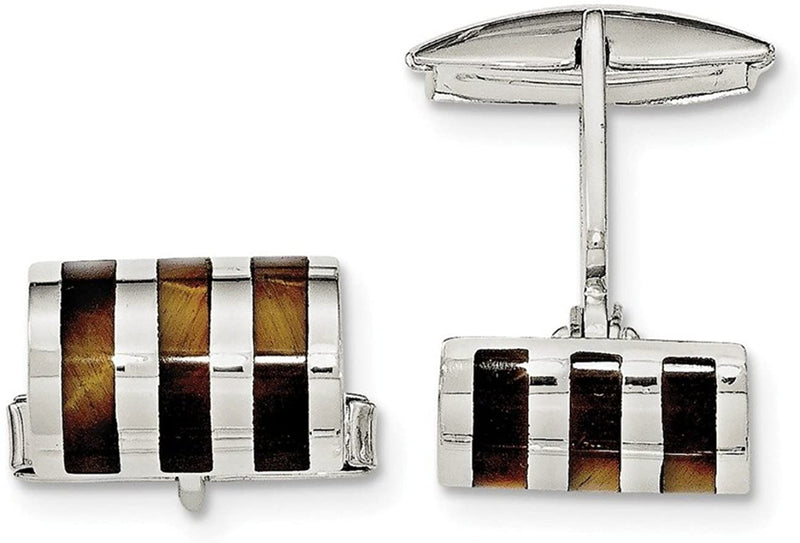 Sterling Silver Tigers Eye Cuff Links