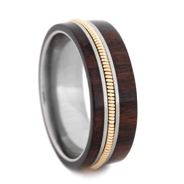 Bolivian Rosewood, Guitar String 8mm Comfort-Fit Titanium Wedding Band