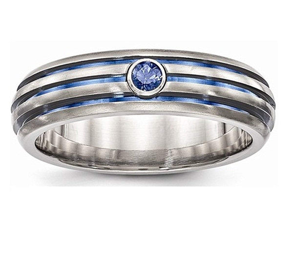 Edward Mirell Titanium Triple Groove Blue Anodized and Sapphire 6mm Wedding Band