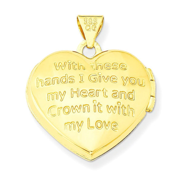 Petite 14k Yellow Gold Diamond Claddagh Heart Locket Pendant