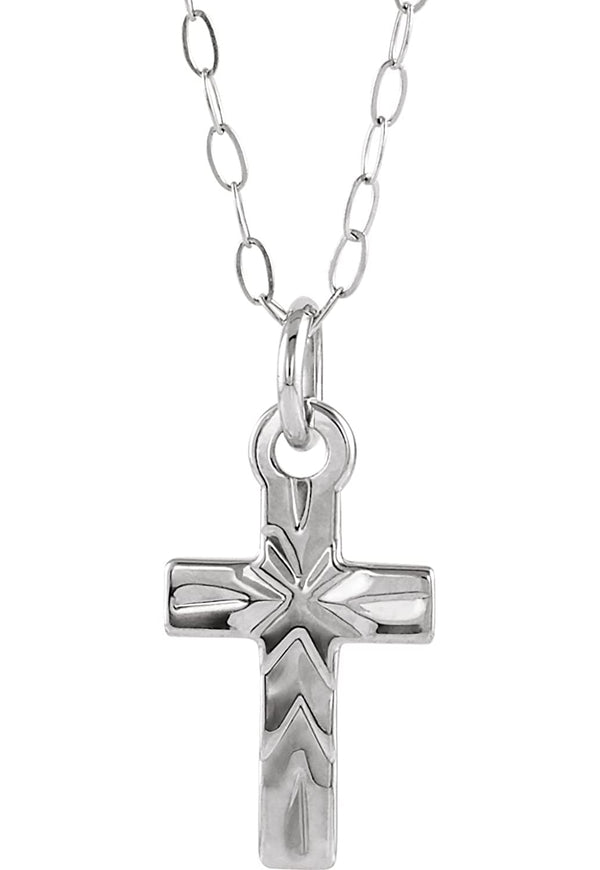 "Youth Cross Rhodium-Plated 14k White Gold Pendant Necklace, 15"" (09.50X06.50 MM)"