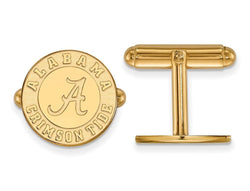Gold-Plated Sterling Silver University Of Alabama Round Cuff Links, 16MM