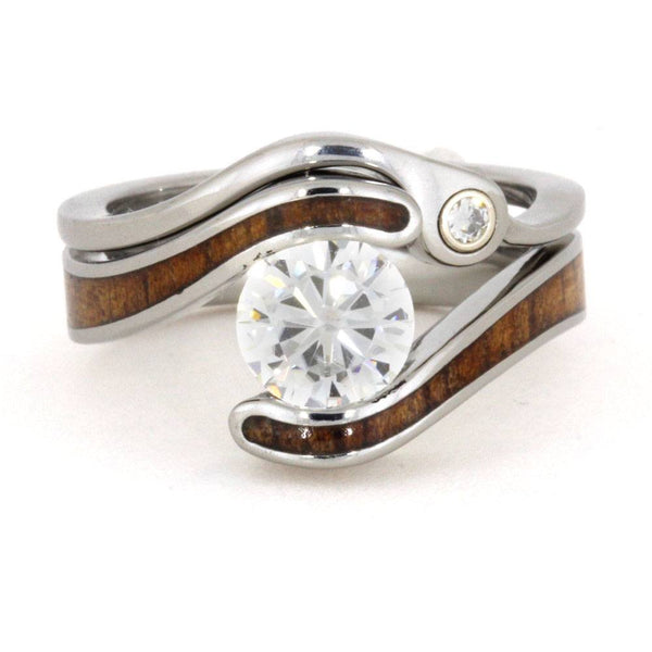 The Men's Jewelry Store (for HER) Charles & Colvard Forever One Moissanite, Koa Wood Titanium Engagement Ring and Shadow Wedding Band