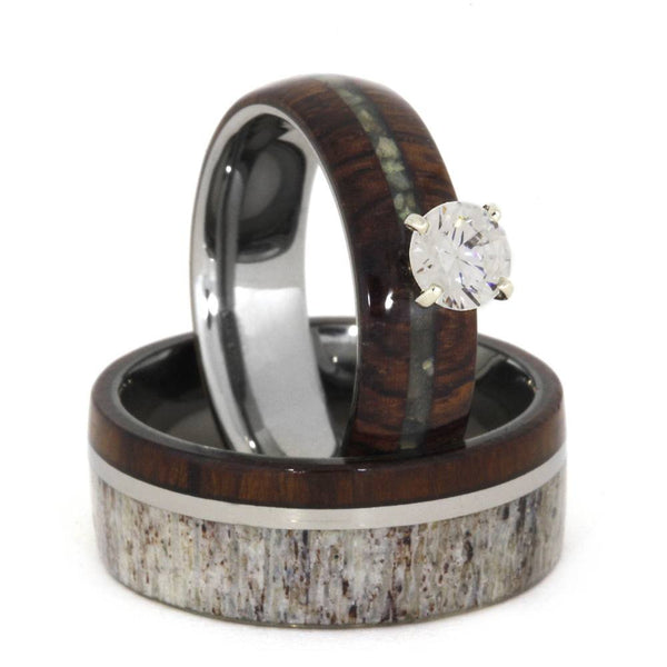 Diamond, Mother of Pearl, Ironwood Engagement Ring, Deer Antler, Ironwood, Titanium Band and His and Hers Wedding Band Set Size 16