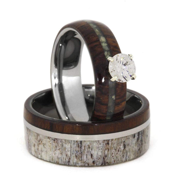 Diamond, Mother of Pearl, Ironwood Engagement Ring, Deer Antler, Ironwood, Titanium Band and His and Hers Wedding Band Set Size 15.75
