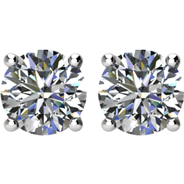 1/2 Ct 14k White Gold Diamond Stud Earrings (.50 Cttw, GH Color, SI1 Clarity)