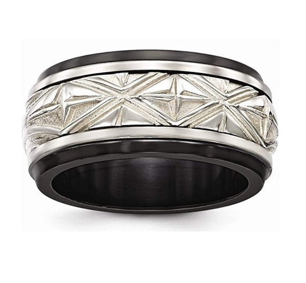 Edward Mirell Black Titanium and Sterling Silver Inlay Fancy Design 11mm Wedding Band