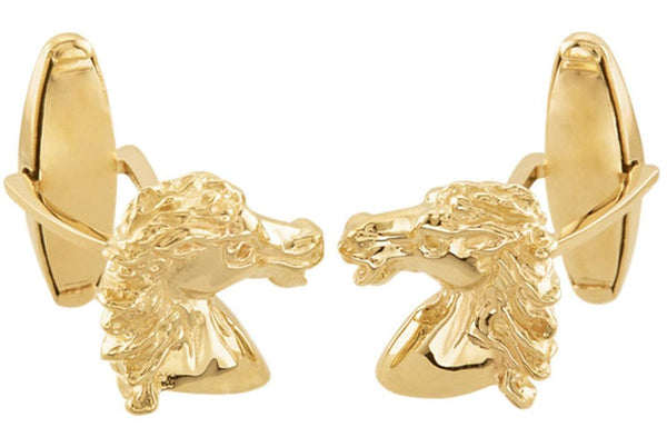 14k Yellow Gold Andalusian Horse Cuff Links