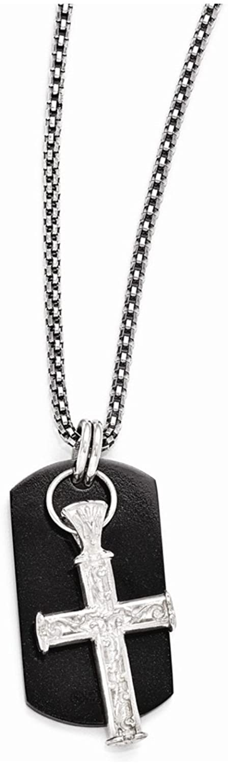 Edward Mirell Black Titanium and Sterling Silver Cross Pendant Necklace, 20""