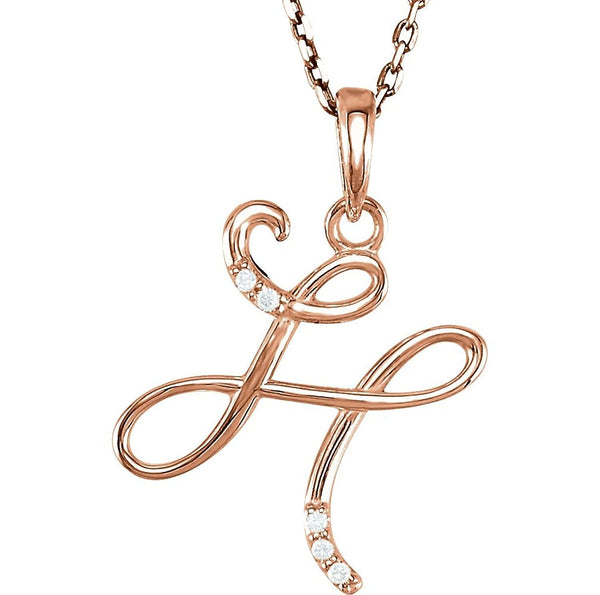 "5-Stone Diamond Letter 'H' Initial 14k Rose Gold Pendant Necklace, 18"" (.03 Cttw, GH, I1)"