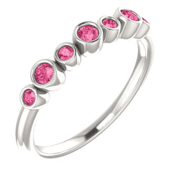 Pink Tourmaline 7-Stone 3.25mm Ring, Sterling Silver