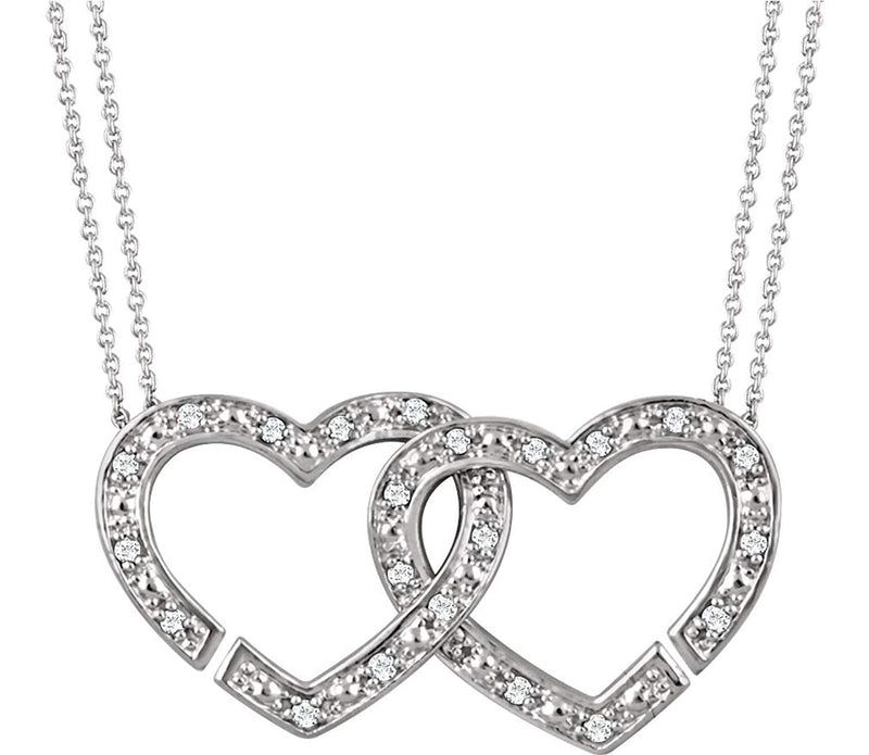 "Diamond 2-in-1 Interlocking Heart Rhodium Plate Sterling Silver Pendant Necklace, 18"" (1/6 Cttw)"