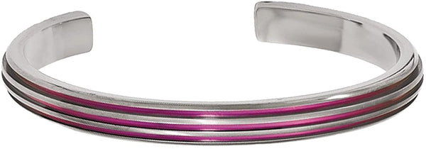 Titanium, Pink Anodized Grooved 7mm Cuff Bracelet