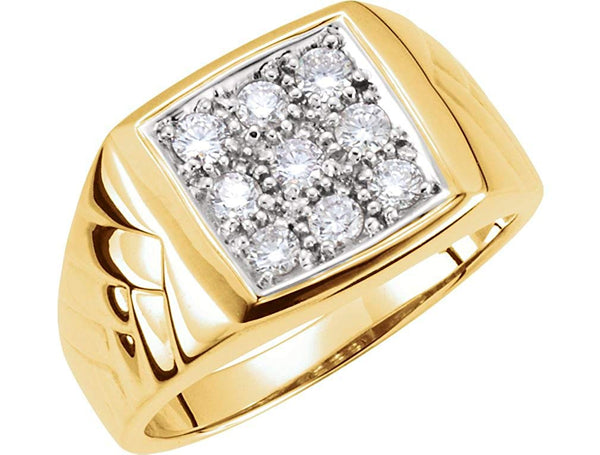 Men's 9-Stone Diamonds 14k Yellow Gold Ring, 13.6MM, Size 10.25