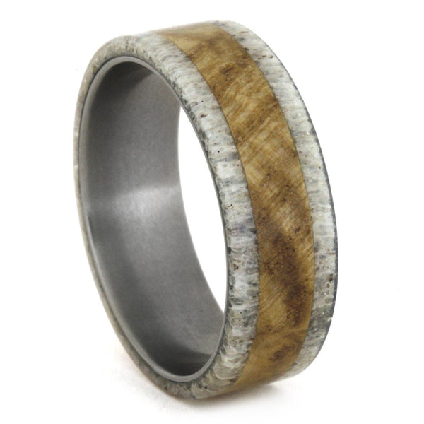 The Men's Jewelry Store (Unisex Jewelry) Black Ash Wood Burl, Deer Antler 8mm Comfort-Fit Matte Titanium Wedding Ring