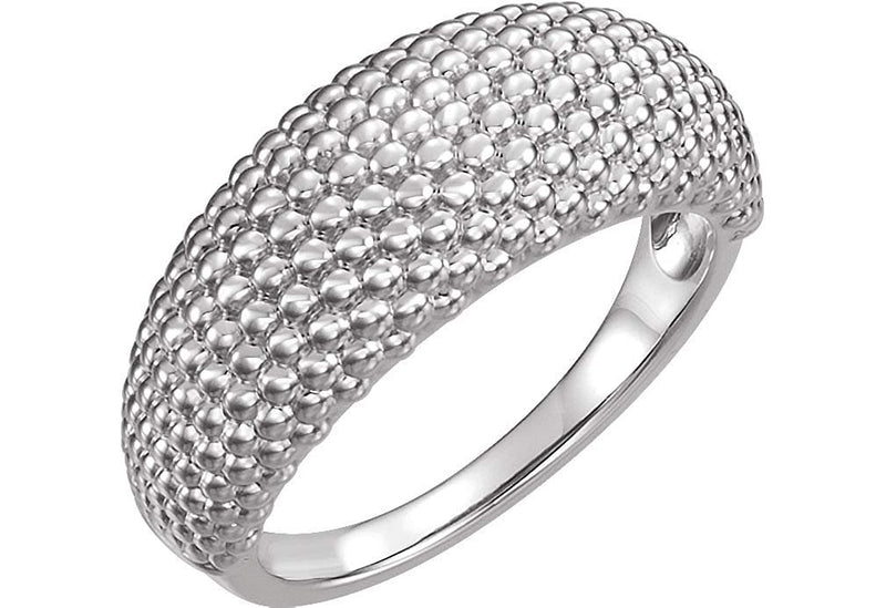 Beaded Dome Ring, Rhodium-Plated 14k White Gold