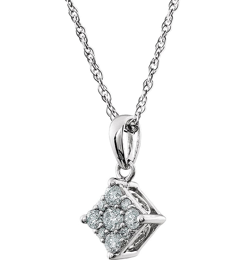"Diamond Cluster Pendant 14k White Gold Necklace, 18"" (1/3 Cttw)"