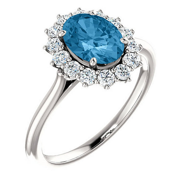 Swiss Blue Topaz and Diamond Halo 14k White OR Yellow Gold Ring, Size 7