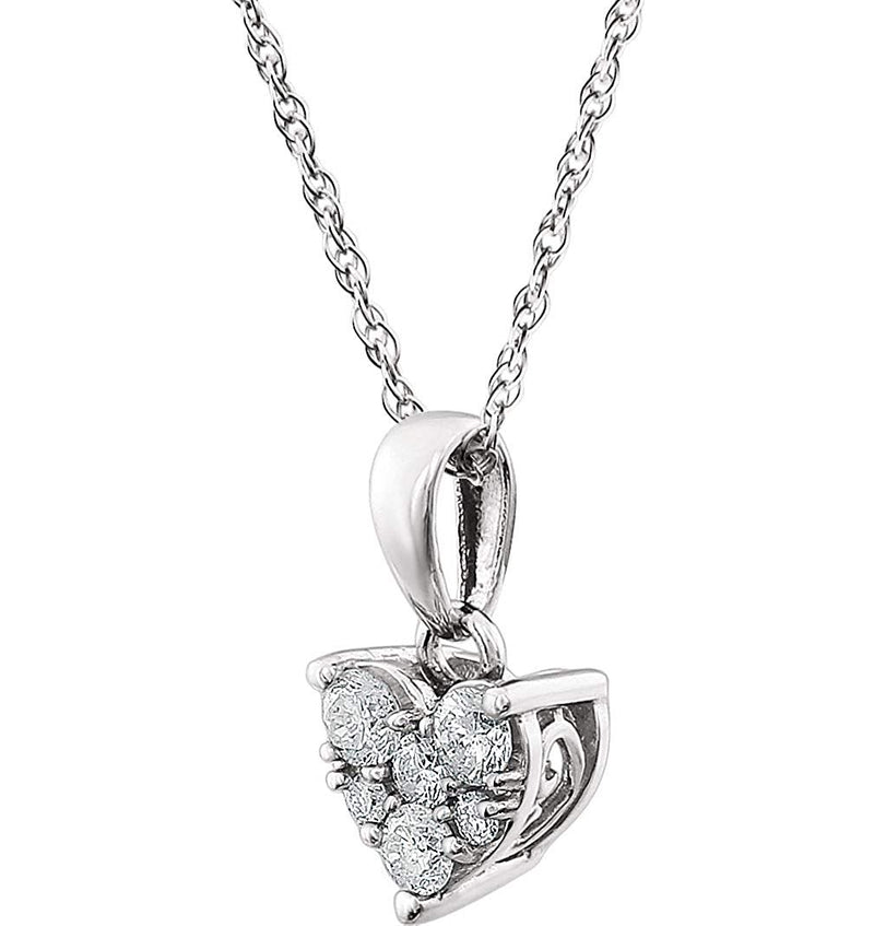 "Diamond Cluster Heart 14k Rhodium Plate White Gold Pendant Necklace, 18"" (1/5 Cttw)"