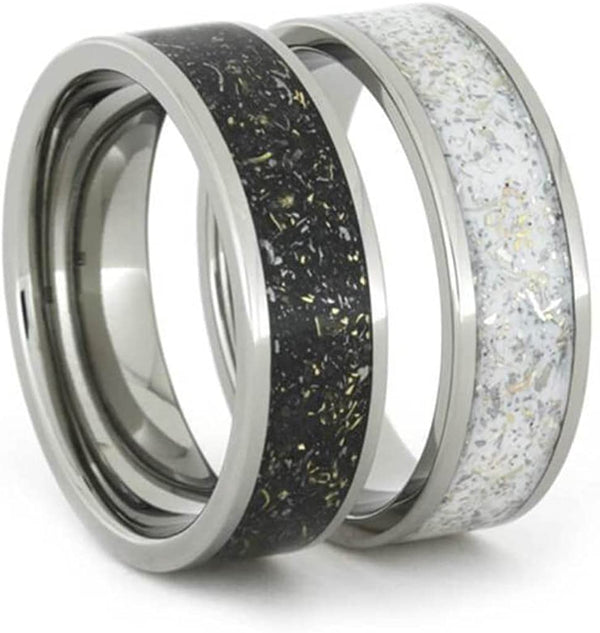 Black Stardust Band, White Stardust Band with Meteorite and Gold 7mm Comfort-Fit His and Her Wedding Bands Set Size, M14.5-F9