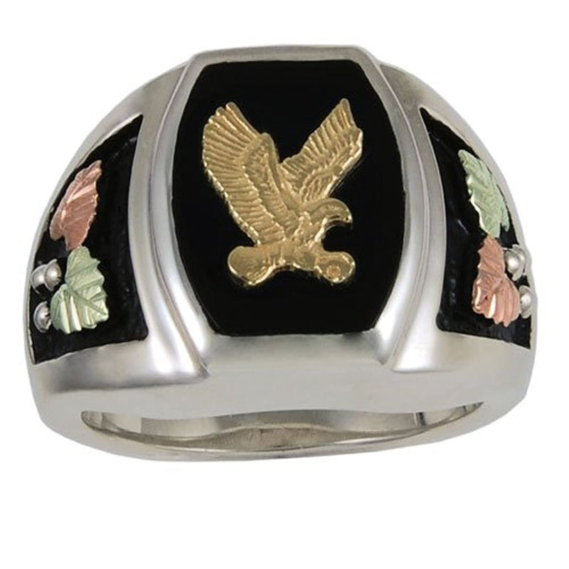 Men's Onyx Eagle Ring, Sterling Silver, 10k Yellow Gold, 12k Green and Rose Gold Black Hills Gold Motif