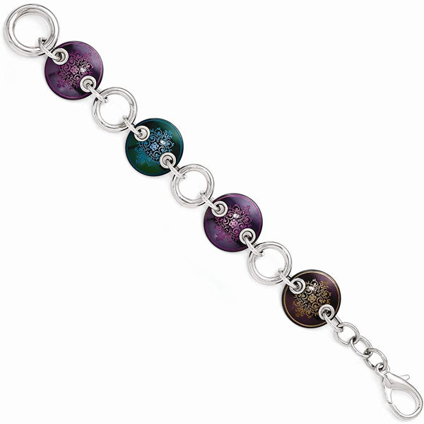 Black Ti, Sterling Silver Anodized Multi-Color 21mm Link Bracelet, 8""