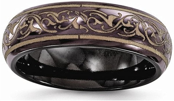 Edward Mirell Black Titanium Anodized Copper Color Domed 6mm Wedding Band, Size 7