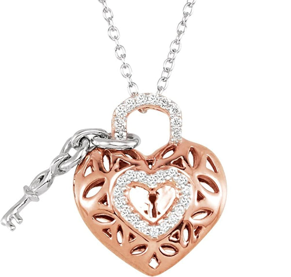 Sterling Silver and Rose Plate Diamond Heart Lock and Key Necklace, 18""