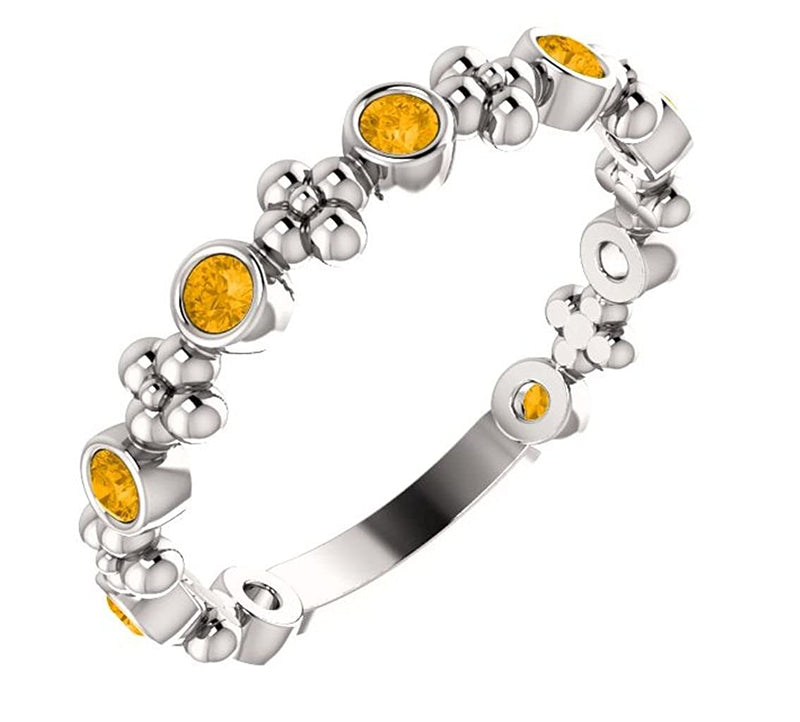 Genuine Citrine Beaded Ring, Rhodium-Plated Sterling Silver