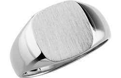 Men's Closed Back Square Signet Ring, 18k X1 White Gold (10mm)