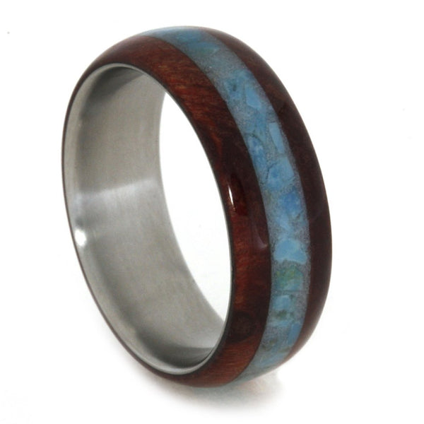 Turquoise, Ruby Redwood 7mm Comfort-Fit Matte Titanium Band