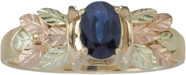 Sapphire Oval Petite Leaf Ring, 10k Yellow Gold, 12k Green and Rose Gold Black Hills Gold Motif, Size 11.25