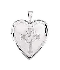 Heart with Avellan Cross and Dove Sterling Silver Locket (21.30X19.60 MM)