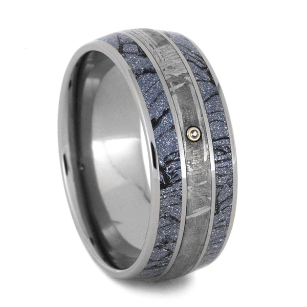 White Sapphire, Gibeon Meteorite, Cobaltium Mokume 8.5mm Comfort-Fit Titanium Wedding Band