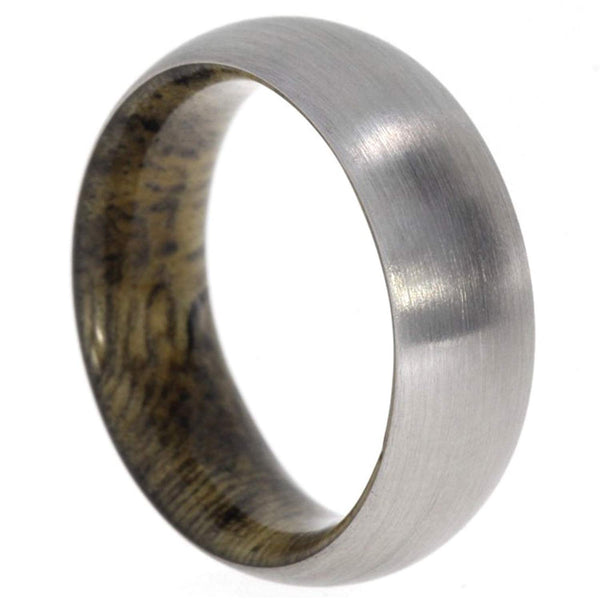 Sindora Wood Inlay 8mm Comfort Fit Matte Titanium Band