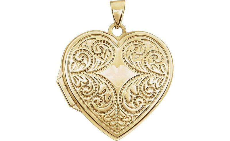 14k Yellow Gold Motiff Design Heart Locket with Design on Back of Locket